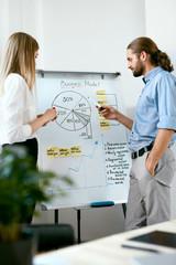 Team Meeting. Business People Making Presentation On Board.
