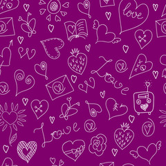 Valentines Day. Large icons set. Seamless pattern