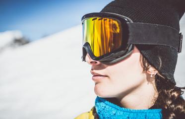Snowboarder watching landscape