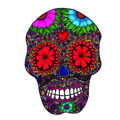 Mexican Sugar Skull with Mustache