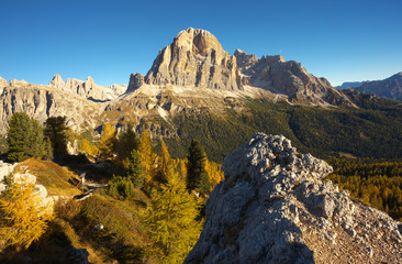 Peak of Tofana in the fall, Dolomites, Italy