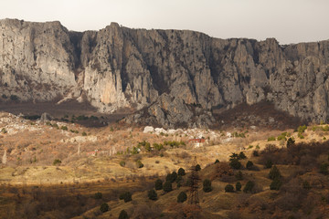 the beautiful landscape of mountains and sky in the Crimea