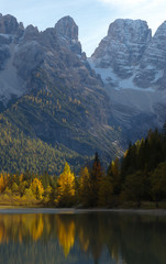 Mountains above the lake Lago di Landro in the fall, Dolomites, Italy