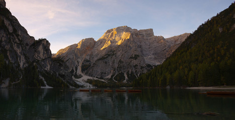 Mountains above the lake Lago di Braies in the fall, Dolomites, Italy