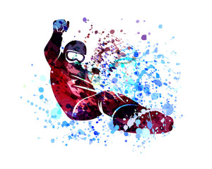 Vector watercolor silhouette snowboarder