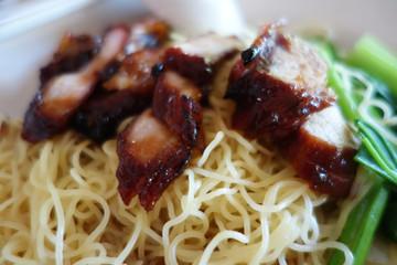 Popular Singapore Chinese street food, wantan mee