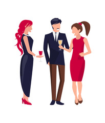 Corporate Party People on Vector Illustration