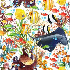 coral reef seamless pattern. underwater world background. cartoon sea fish watercolor illustration.