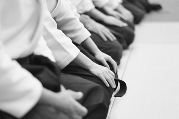 Sensei students sitting in a row on the mat at a seminar on aikido