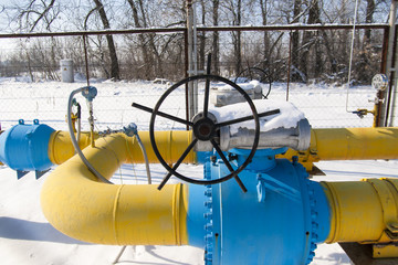 Ball valve installed on the gas pipeline