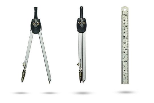 Compasses drawing and Metal ruler on a white background.