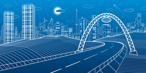 Highway under the bridge. Modern night town, neon city. Infrastructure illustration, urban scene. White lines on blue background. Vector design art