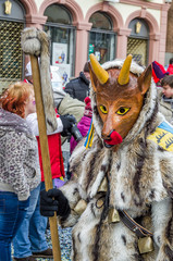 Carneval Fasnacht in the city of Lahr, Germany. Traditionally, the festive and cultural carnival procession through the streets of cities and towns in Germany
