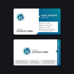 Business card template design blue tone.