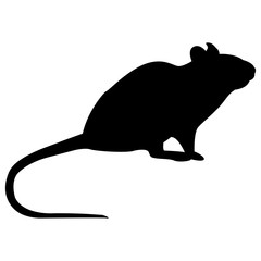 Vector image of a silhouette of a rat on a white background