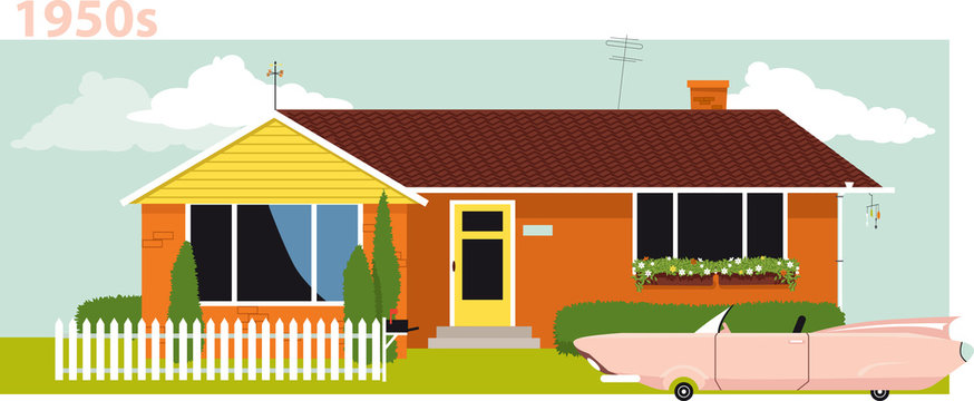 1950s suburban house with a vintage cabriolet car in front of it, EPS 8 vector illustration