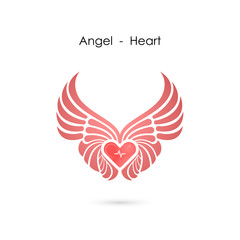 Heart logo with angel wings logo design template.Love symbol.Valentine's Day sign.Emblem isolated on white background.Vector illustration