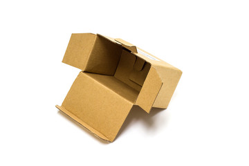 Brown cardboard box for postal delivery isolated on a white background