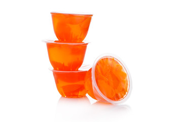 Single cups with mandarins in fruit jelly