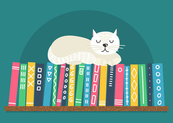 Books on shelf with white cat. Difrent color books with ornament on shelf on teal background. Cat sleeping on bookshelf. Vector illustration.