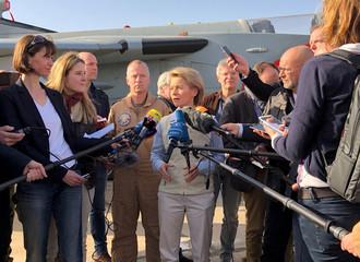 Acting German Defence Minister Ursula von der Leyen talks to journalists after arriving to Azraq