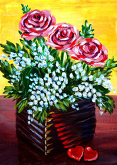 Acrylic painting. Flowers in the pot and heart-sweets.