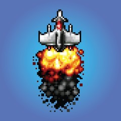 8-bit pixel art space ship blasting flying into space