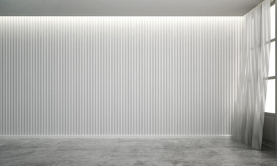 The interior design idea concept of empty luxury living room and white wood patern wall background