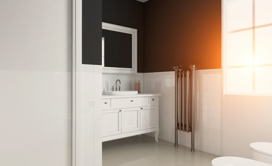 Modern bathroom including bath and sink. 3D rendering. Sunset.