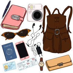 Vector Cartoon Travel Set. Personal Belongings for Journey