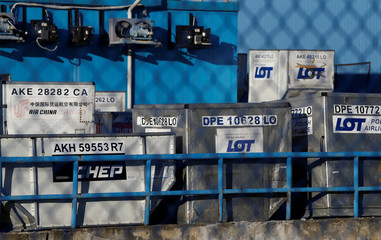 A Polish Airlines LOT cargo containers are seen at the Chopin International Airport in Warsaw