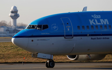 KLM Boeing 737-7K2 PH-BGR aircraft taxis to runway at the Chopin International Airport in Warsaw
