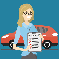 happy female holding document,modern red car on background