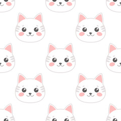 Seamless Pattern with Cartoon Cat's Heads on White Background. Vector illustration