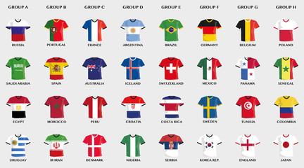 Sammlung von Vektor Fußball Trikots in National-Flaggen Design
