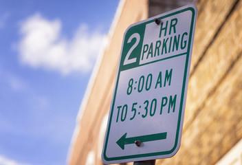 2 Hour Parking Street Sign