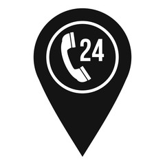 Map pointer with phone handset icon, simple style