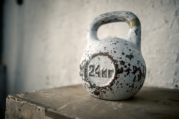 Kettlebell background on white background in gym.