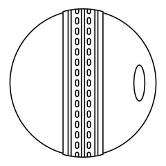 Cricket ball icon, outline style
