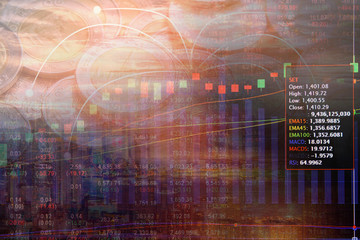 Double exposure money coins on trading graph and stock market board background with capital financial city. Business investment concept.