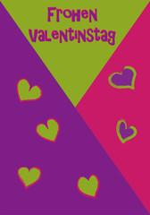 Valentinskarte in kräftigen Farben mit Herzen und Text. Vektor Illustration