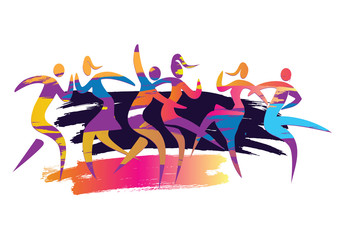 Dancing couples disco party.