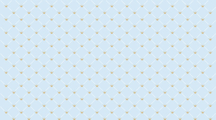 Blue seamless pattern with golden crown. Classic backdrop for invitation card and decoration party (wedding, baby boy shower, birthday) Cute wallpaper for prince's style child's room. Gift wrap paper.