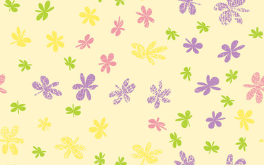 Seamless Grunge Daisy Flower Abstract Vector Background