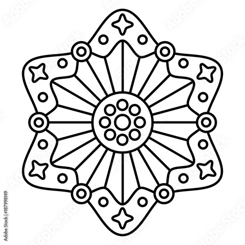 Simple Floral Mandala Easy Coloring Page Illustration For Kids And