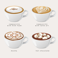 Set of Coffee Types : Vector Illustration