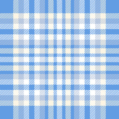 Plaid check pattern in blue, pale beige and white. Seamless fabric texture for digital textile printing.