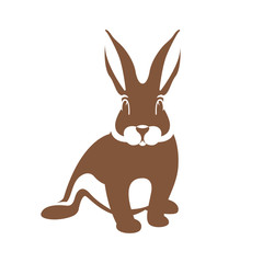 hare rabbit vector illustration flat style    front  side