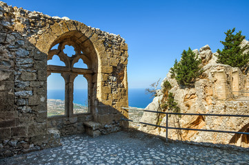 Wall with a window in Saint Hilarion Castle, Kyrenia Girne district, Cyprus