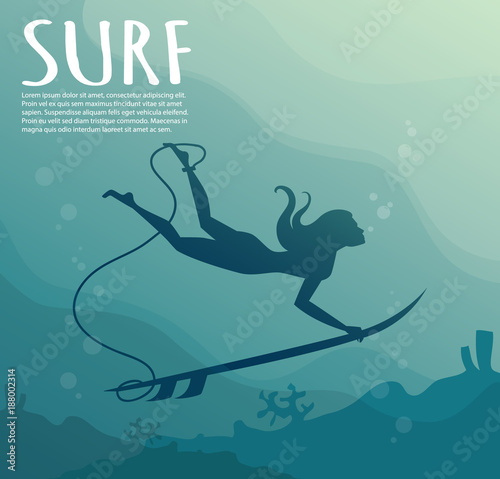 c31496d272 Young girl - surfer with surf board dive underwater with fun under big  ocean wave.